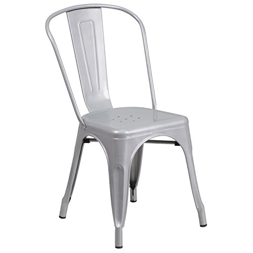 Stackable Bistro (Flash Furniture Metal Chair, Silver)