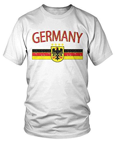 Amdesco Men's Germany Flag and Eagle Crest, German Flag T-Shirt, White Large
