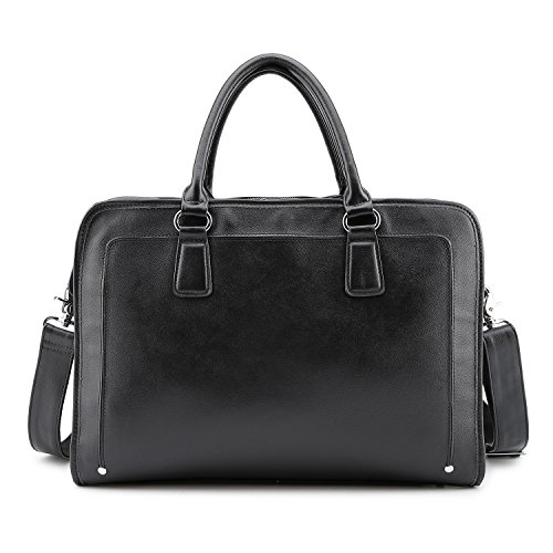 BAIGIO Genuine Leather Briefcase 14 Inch Laptop Bags for Men& Women Multi-pocket Business Work Bag (Black)