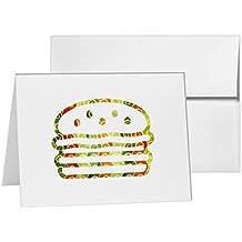 Hamburger Burger Cheeseburger Fast Food, Blank Card Invitation Pack, 15 cards at 4x6, Blank with White Envelopes Style 7484