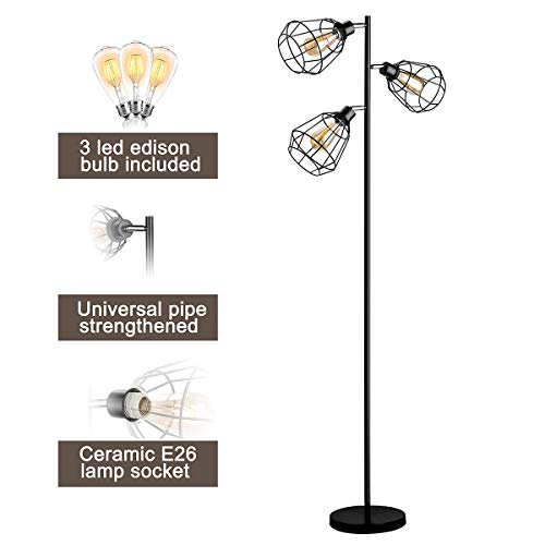 (Oneach Tolbert Industrial Floor Lamp Metal Standing 3-Light Tree Floor lamp Black Lamp with Adjustable lampshade for Reading Bedroom Living Room Office Décor, 3 LED Edison Bulbs)