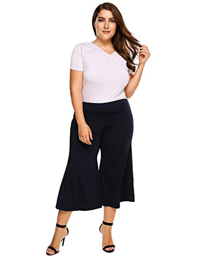 Womens Plus Size Flared Wide Leg Capri Palazzo Pants, Ladies Knit Fold Over Waist Flowy Culottes Pants Beach Bottoms Casual Trousers,20 Plus,Navy Blue 20 Ladies Trouser