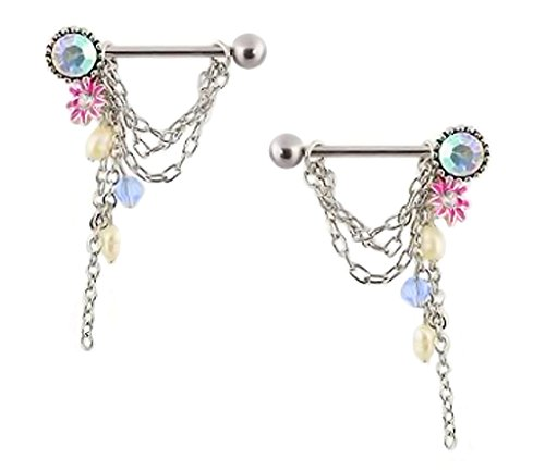 Chain Drop Nipple Ring (Pair of nipple rings with Pearls Flower & chains drop and dangles barbell sheild 14g)