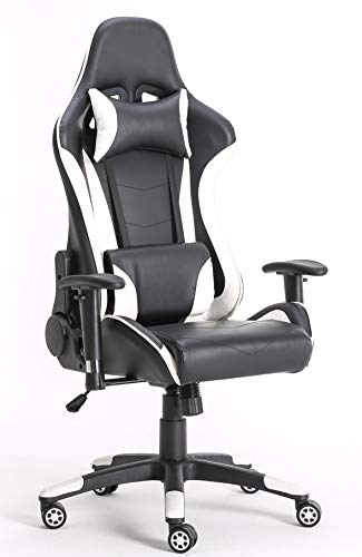 Requena Gaming Racing Sport Elite Desk Chair Adjustable Office Computer Chair Lumbar and Head Pillow Chair (White)