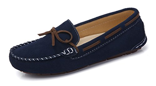 SUNROLAN Women's Winter Flats Suede House Slippers Fur-Lined Moccasins Driving Shoes Slip On Loafers Estate Blue(without Fur)