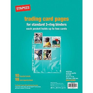 staples-trading-card-pages-2-5-8-x-3-3-4-inch-pockets-10-sheets-9-pockets-per-sheet-or-18-cards-per-