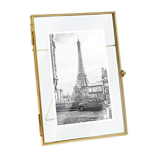 Isaac Jacobs 5x7, Antique Gold, Vintage Style Brass and Glass, Metal, Floating Desk Photo Frame (Vertical), with Locket Bead Clasp Closure for Pictures Art, More (5x7, Antique Gold)