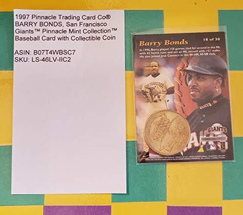 1997 Pinnacle Trading Card Co® BARRY BONDS, San Francisco GiantsTM Pinnacle Mint CollectionTM Baseball Card No. 18 (of 30) with Collectible Coin