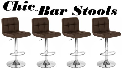 Chic Modern Adjustable Synthetic Leather Swivel Bar Stools - Brown - Set of 4
