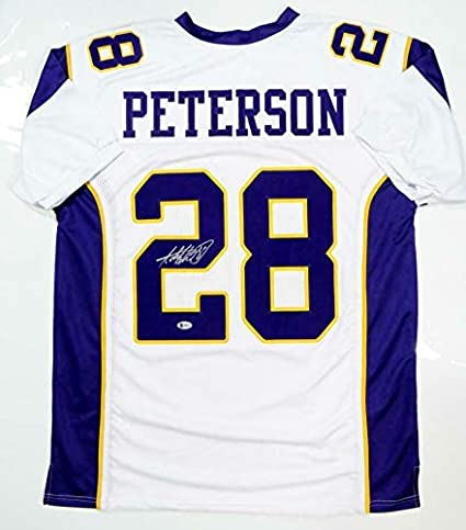 buy online 1bb9d fa160 Autographed Adrian Peterson Jersey - White Pro Style Beckett ...