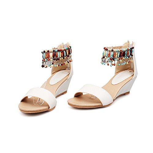 Tacco A Spillo Donna Con Zeppa Open Toe In Boemia Con Cinturino Alla Caviglia Sandali Con Zip Posteriore Bianca