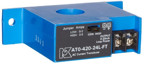 NK Technologies AT1-420-24L-FT AC Current Transducer, Solid-core, Top Term, 4-20mA Output Range, 0-10, 0-20, & 0-50A Input Range, 12-40VDC Power Supply