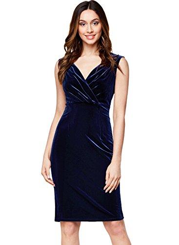 Miusol Women's Deep-V Neck Ruffles Sleeveless Pleuche Slim Business Pencil Dress (X-Large, Navy Blue)