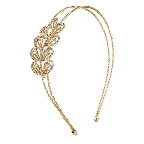 Scalloped Satin Design (Lux Accessories Gold Tone Crystal Rhinestone Scalloped Two Row Coil Headband)