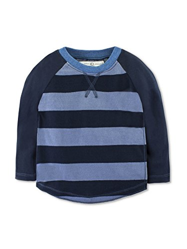 y Boys Organic Dax Long Sleeve Baseball Tee - Navy Stripe - 18-24M ()