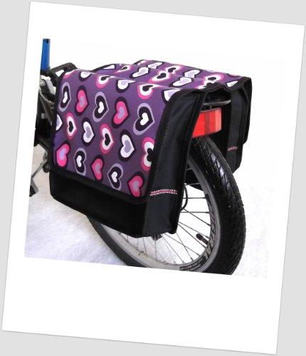 T-JOY-06 Fahrradtasche JOY Letters Grey Kinderfahrradtasche Satteltasche Gepäckträgertasche 2 x 5 Liter KINDER UzUedUq