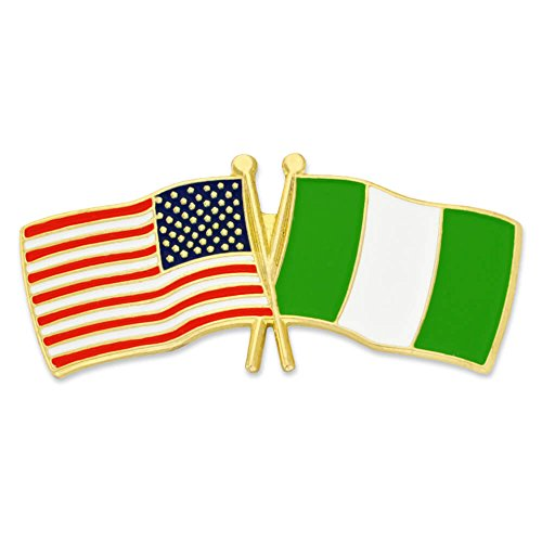 PinMart's USA and Nigeria Crossed Friendship Flag Enamel Lapel Pin save more