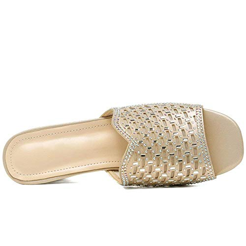 Moda Nuevo Oro Primavera Femenina Diamante Sandalias Zapatillas Las Marea Tamaño Usan Puntiagudo Jincosua Unidos Verano color Damas 35 Europa Y Estados ABwqUtz
