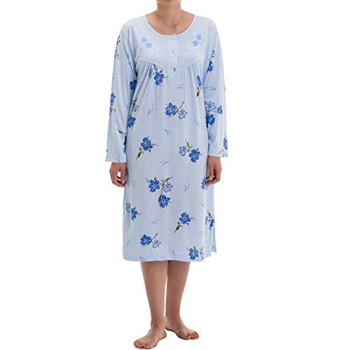 donna Lucky Maniche Blu Azzurro Brand Camicia lunghe rxROrn