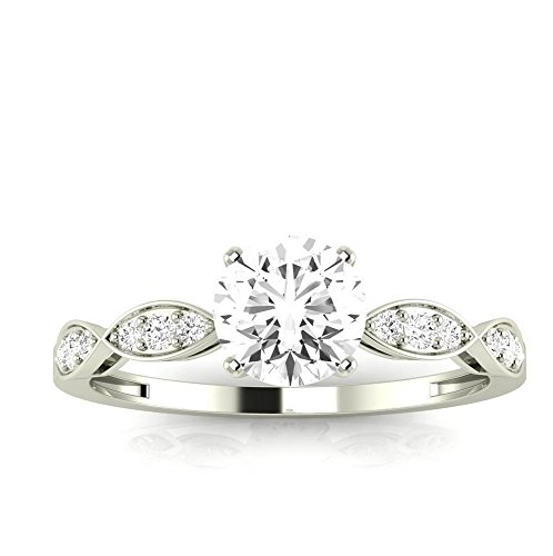 0.65 Carat T.w. Round Petite Curving Diamond Engagement Ring J I2 Clarity Center Stones.