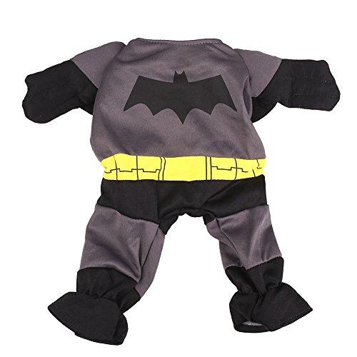 Kicode Cartoon Teddy Costume Batman Style Apparel Clothes Warm Coat Dog Jumpsuit Cute Hero Outfit Bat Teddy Clothing Party ()
