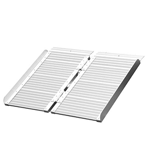 (ORFORD Wheelchair Ramp 2ft for Home Steps Stairs Doorways Scooter, Utility Mobility Access Non Skid Folding Wheelchair Ramp, Portable Aluminum Foldable Threshold Ramp 2ft …)