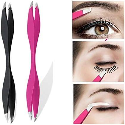 GUOJIAYI 3PCSピンセットローズ美容メイクツールダブル眉毛ピンセットまつげツールメイクツール