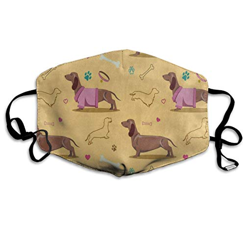 Custom Mouth Mask Anti-Dust Colorful Dachshund Dog Paw Print Heart Bone Face Mask Breathable Mask With Adjustable Ear-loop Windproof And Warm]()