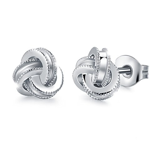 Sterling Silver Knot Earrings (White Gold Plated Sterling Silver Studs Love Knot Earring For Women | Hypoallergenic & Nickle free Jewelry for Sensitive Ears)