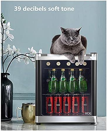 SHENXINCI Vinoteca Capacidad de 42L, Puerta De Cristal con Marco de Acero Inoxidable,Control de Temperatura Mecánico,5 Niveles de Ajuste de Temperatura 0-10 ℃,Puerta de Vidrio de 3 Capas.