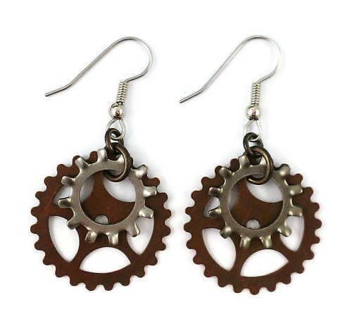 Steampunk Surgical Steel and Brass Dangle Earrings