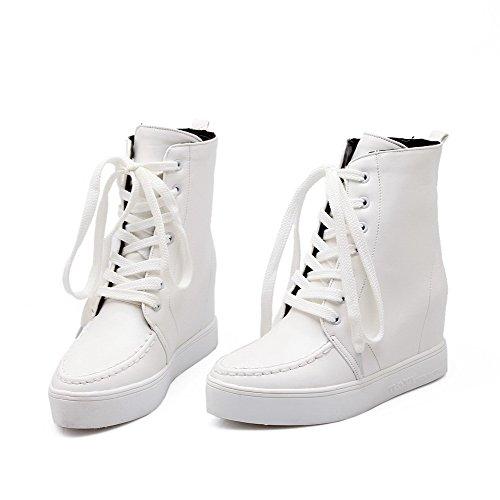 AllhqFashion Womens Round Closed Toe High Heels Pu Low Top Boots White AOAwVnN