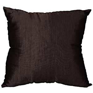 EXP Handmade Lustrous Black Silk Cushion Cover/Pillow Sham with Buttons