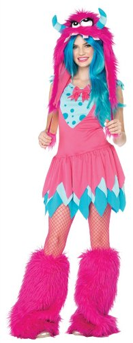 (Leg Avenue 2 Piece Mischief Monster Dress And Furry Monster Hood With Pom Pom Ties, Pink,)