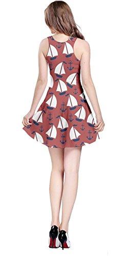 Stripes Sailboat Sailor 5XL CowCow Anchor Dress Sleeveless Vintage Sailboat Red Marine Womens Nautical XS Ptxan0