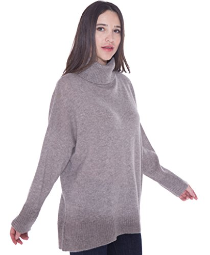 cashmere 4 U 100% Cashmere Turtleneck Oversize Sweater Pullover For Women by cashmere 4 U (Image #2)