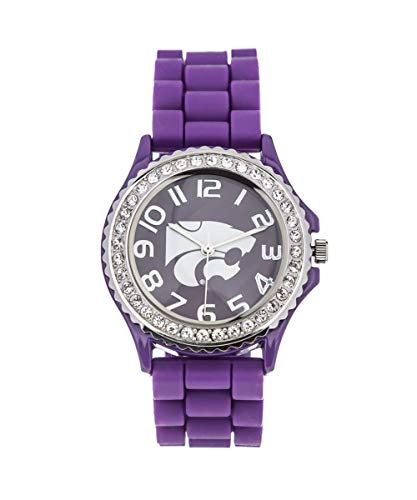 Kansas State University Wildcats Licensed Collegiate Analog Watch with Crystals, Rubber Strap and Japanese Movement 38mm