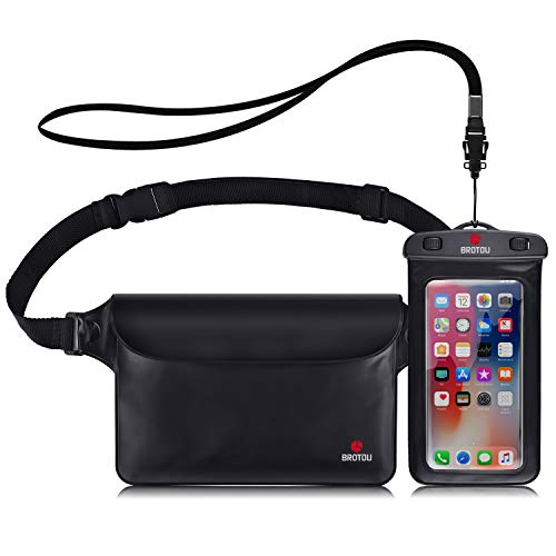 - BROTOU Universal Waterproof Waist Pouch and Phone Case IPX8 Waterproof Dry Bag for Outdoor Activities Underwater Snorkeling Boating Swimming Fishing Sailing Beach Water Parks - Set