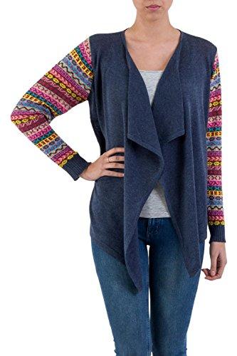 NOVICA Cotton Blend Cardigan, 'Pisac Market in Blue'