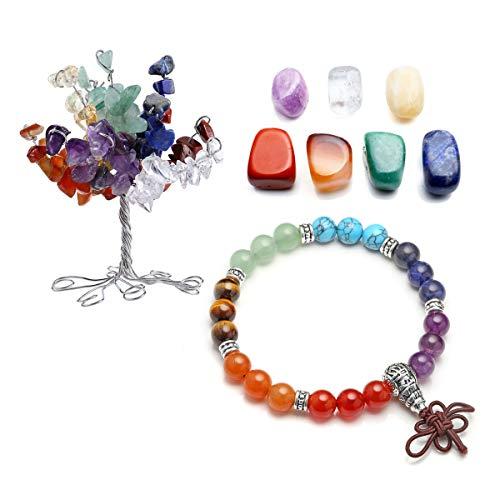 Feng Shui Knot Bracelet - CrystalTears 7 Chakra Gems Set,Money Tree & Irregular Chakra Stones & 7 Chakra Brarcelet Lotus Pendant Reiki Healing Crystal Feng Shui Spiritual Decor Ornaments (7 Chakra-Chinese Knot)