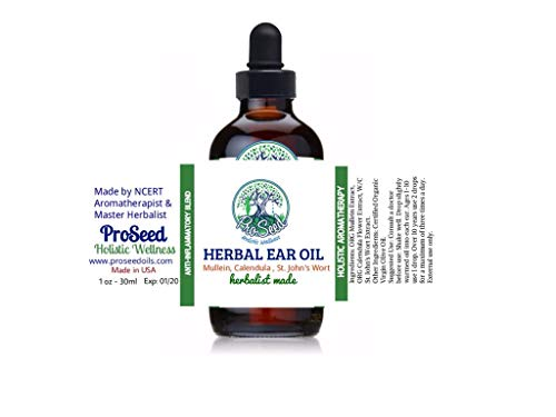 ProSeed Organic HERBAL EAR OIL Blend | Support Congested Ears | Mullein, St Johns Worth and Calendula Infused Organic Oil | Antifungal Oil Blend | 30ml