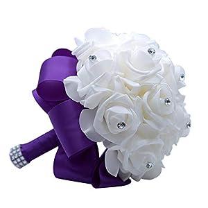 MOJUN Wedding Bouquets Crystal PE Roses Bridal Bridesmaid Wedding Hand Holding Bouquet Artificial Fake Flowers Toss Bouquet, Purple