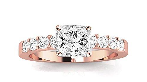 Egl Certified Princess Cut Diamond - 2 Carat GIA Certified Princess Cut Classic Prong Set Diamond Engagement Ring (I-J Color VVS1-VVS2 Clarity Center Stones)