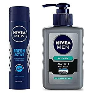 NIVEA Men Deodorant, Fresh Active Original, 150ml And NIVEA Men Face Wash, Oil Control, 10x Vitamin C, 150ml