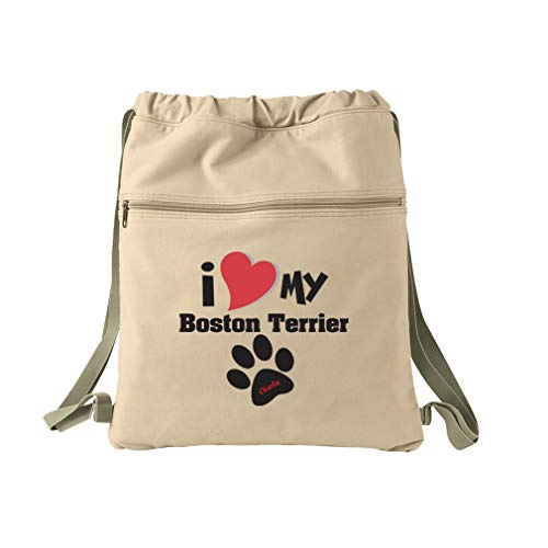 Personalized Custom I Love My Boston Terrier Cotton Canvas Dyed Sack Backpack
