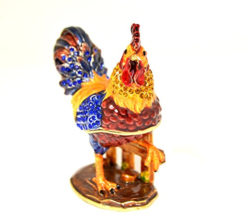 (Ciel Collectables Rooster Trinket Box. Hand Painted Colorful Enamel with Swarovski Crystal)