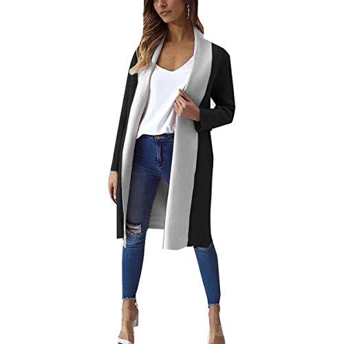 ZFFde Invierno Color Block Cardigan Coat Mujeres tallas grandes Abrigo abierto Invierno Thick Long Coats (Color : Black, tamaño : XL)