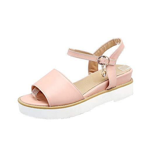 VogueZone009 Women Buckle Pu Open-Toe Low-Heels Solid Sandals, CCALP015009 Pink