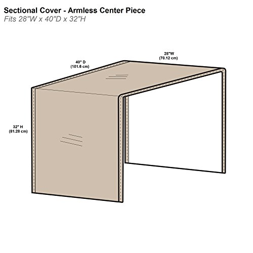 "Protective Covers Inc. Modular Sectional Sofa Cover, Armless Center Piece, 28"" W x 40"" D x 32"" H, Tan"