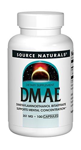 Source Naturals DMAE Dimethylaminoethanol Bitartrate 351mg Supplement - 100 Capsules